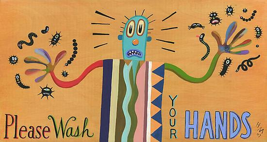 Please Wash Your Hands - Giclee Print - by Hal Mayforth