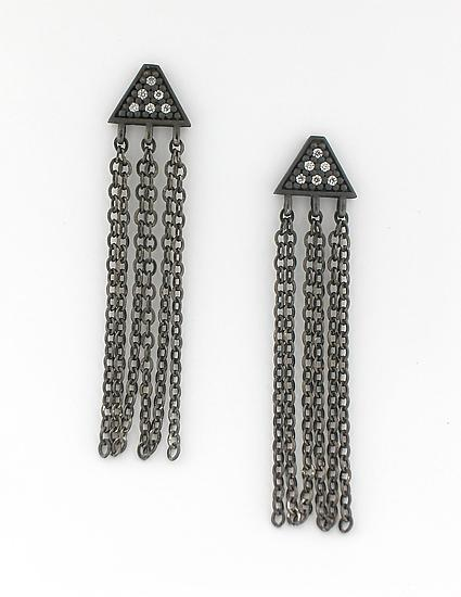 Tri Studs with Chains - Silver & Stone Earrings - by Catherine Iskiw
