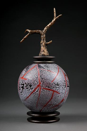 Grana Mali Crveno: Red Sphere - Art Glass Vessel - by Eric Bladholm