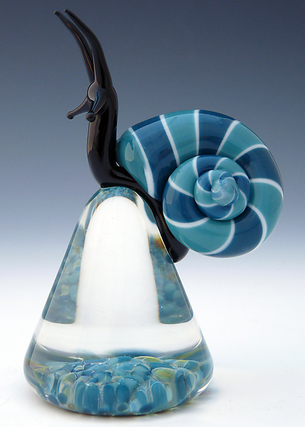 Blue Cosmo Snail - Art Glass Paperweight - by Eric Bailey