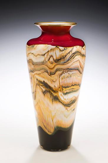 Ruby Strata Traditional Urn - Art Glass Vase - by Danielle Blade and Stephen Gartner