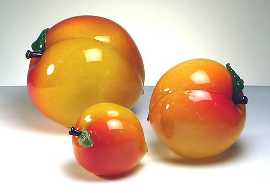 Larger than Life Peaches - Art Glass Sculpture - by Michael Cohn and Molly Stone