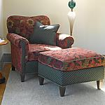 Upholstered Chair & Ottoman by Mary Lynn O'Shea