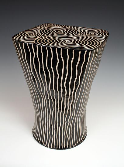 Square Top Table - Ceramic End Table - by Larry Halvorsen