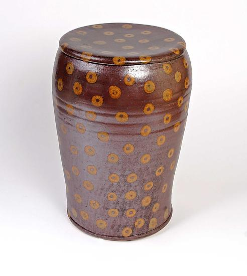 Temmoku Garden Seat with Gold Donuts - Ceramic Stool - by Michael Jones