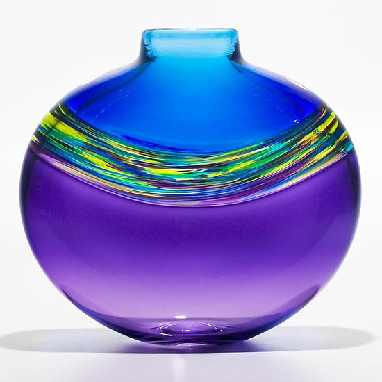 Transparent Banded Vortex Vase in Cerulean Cool Lime and Grape - Art Glass Vase - by Michael Trimpol