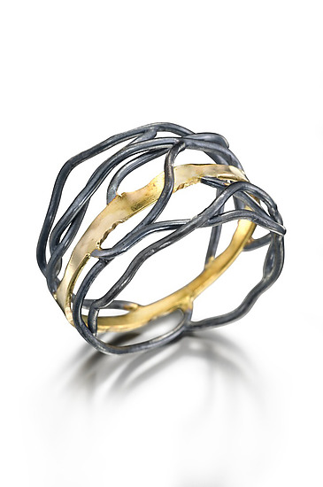 Rooted ring - Gold and Silver Ring - by Beverly Tadeu