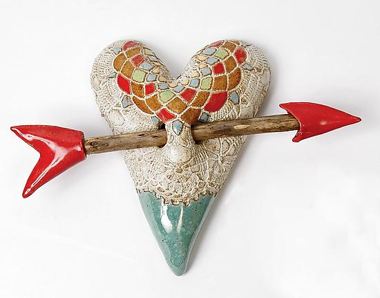Little Valentine - Ceramic Wall Art - by Laurie Pollpeter Eskenazi