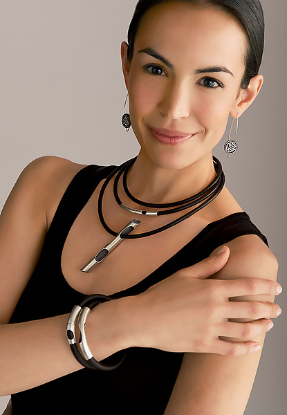 Katelyn Neck Wrap and Unisex Magnetic Wrap Bracelet - Silver & Rubber Jewelry - by Shellie Bender