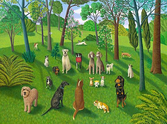 The Dog Park III - Giclee Print - by Jane Troup