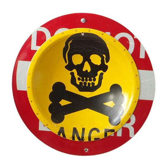 Danger D.P.W. Platter - Metal Wall Art - by Boris Bally