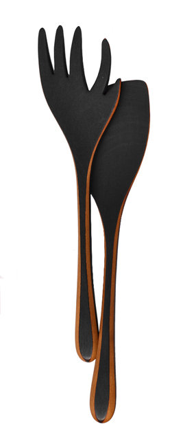 Flame Blackened Salad Servers - Wood Serving Utensils - by Jonathan Simons