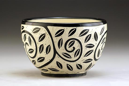 Vine and Leaf Bowl - Ceramic Bowl - by Jennifer Falter