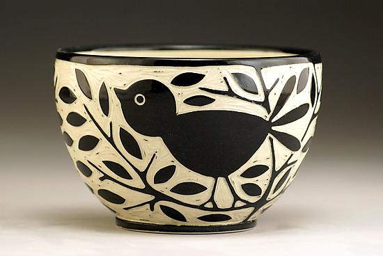 Blackbird Bowl - Ceramic Bowl - by Jennifer Falter