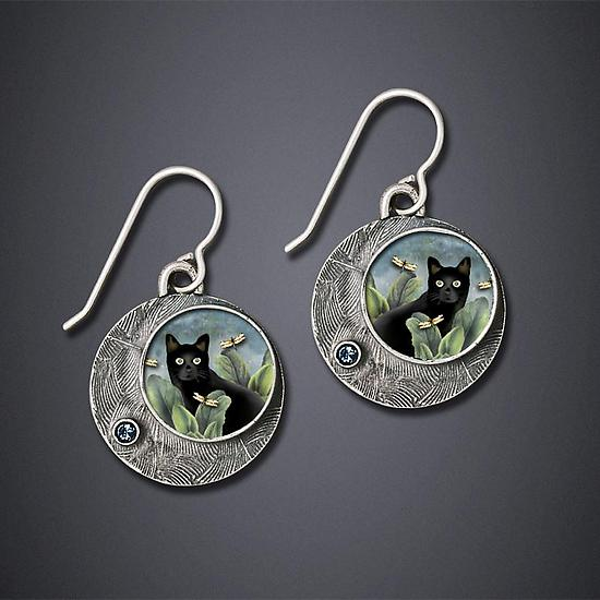Black Cat Earrings - Silver Earrings - by Dawn Estrin