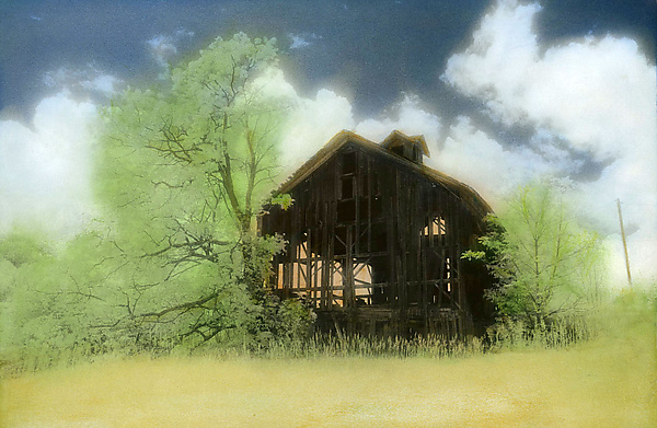 Abandoned Barn - Infrared, Hand Painted Photograph - by Elizabeth Holmes