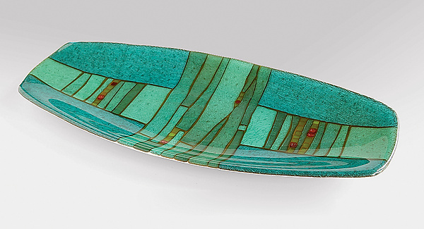 Strata Oval Platter - Art Glass Platter - by Lynn Latimer