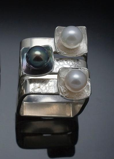 Square on Square Stacking Rings - Silver & Pearl Rings - by Chi Cheng Lee