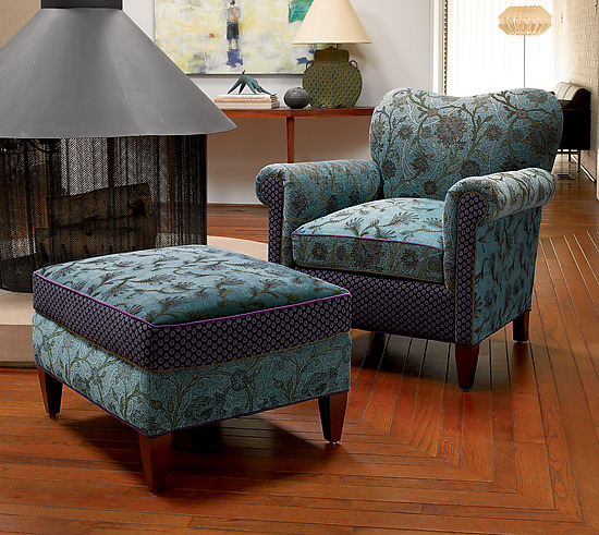 Molly Rose Chair in Aqua - Upholstered Chair - by Mary Lynn O'Shea
