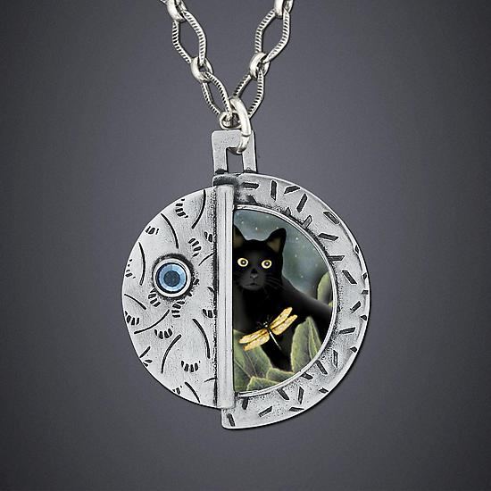 Black Cat Necklace - Silver Necklace - by Dawn Estrin