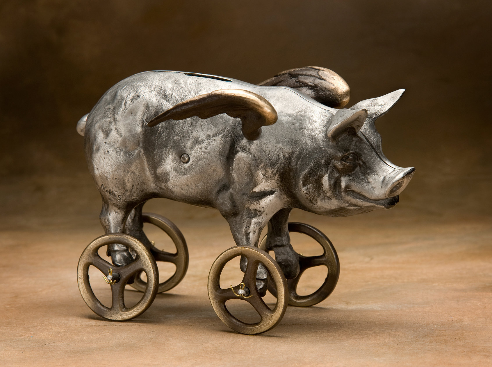 Flying Pig Coin Bank - Metal Bank - by Scott Nelles