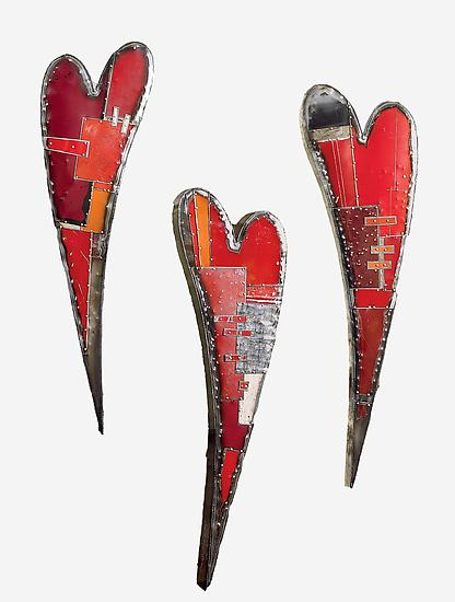 Swooping Hearts Wall Sculpture - Metal Wall Art - by Anthony Hansen