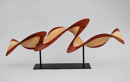 Small Flash on Metal Base - Wood Sculpture - by Kerry Vesper