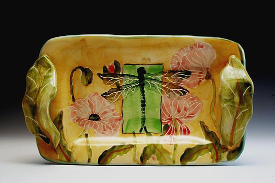 Poppy and Dragonfly Small Tray - Ceramic Butter Dish - by Peggy Crago