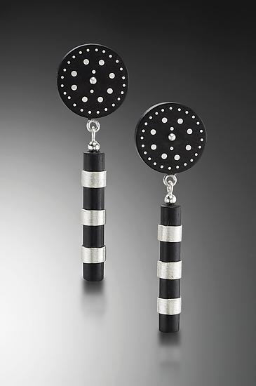 Inlaid Ebony Disc Earrings - Silver & Wood Earrings - by Suzanne Linquist