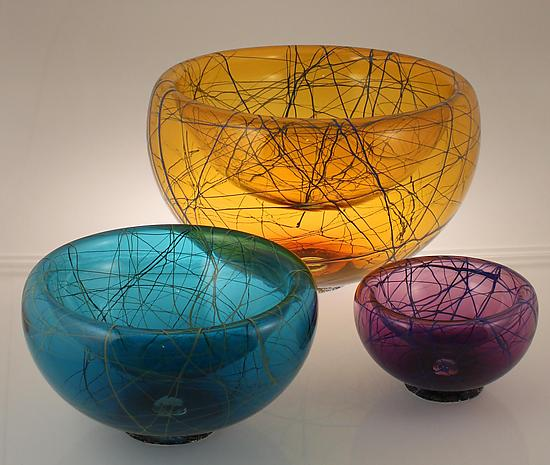 Birds Nest Bubble Bowl - Art Glass Bowl - by Cristy Aloysi and Scott Graham
