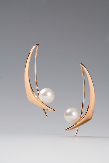 Red Gold Azrielle Earrings - Gold & Pearl Earrings - by Britt Anderson