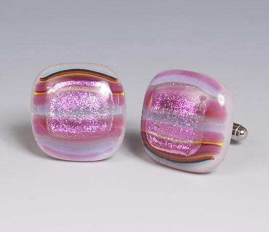 Bright Pinstripe and Dichroic Square Cuff Links - Art Glass Cuff links - by Renato Foti