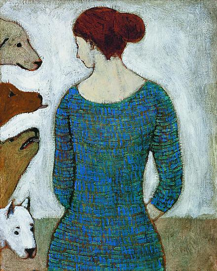 A Woman with Dogs - Giclee Print - by Brian Kershisnik