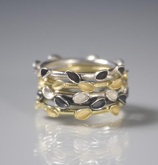 Stacking Floral Rings - Gold & Silver Rings - by Analya Cespedes