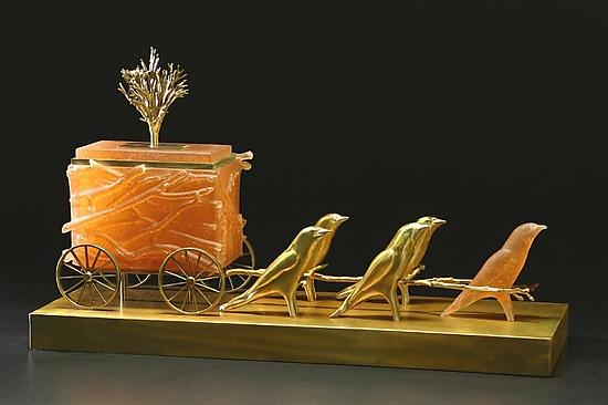 Swallow Carriage - Art Glass & Bronze Sculpture - by Georgia Pozycinski and Joseph Pozycinski