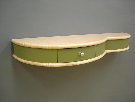 Spring Wall-Mounted Table - Wood & Leather Shelf - by Tim Wells