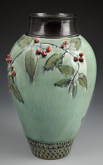 Vase with Red Berries - Ceramic Vase - by Suzanne Crane