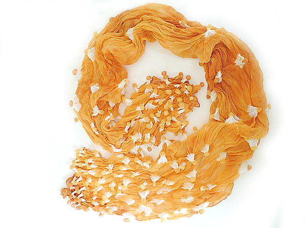Large Epidermis Forest Scarf in Orange - Woven Scarf - by Yuh Okano