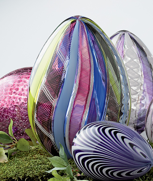 Multicolor Spring Cane Egg - Art Glass Sculpture - by Paul Lockwood