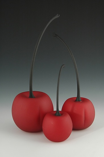 Glass Blasted Red Cherries - Art Glass Sculpture - by Donald Carlson