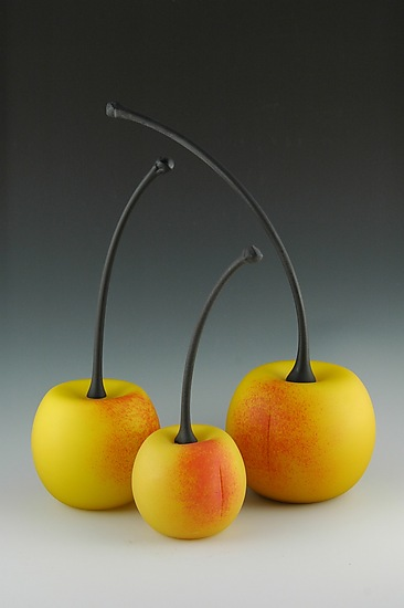 Glass Blasted Ranier Cherries - Art Glass Sculpture - by Donald Carlson