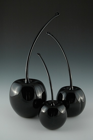 Black Cherries - Art Glass Sculpture - by Donald Carlson