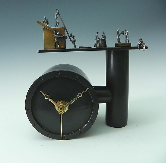 Working Overtime - Metal Clock - by Malcolm Owen and Mary Ann Owen