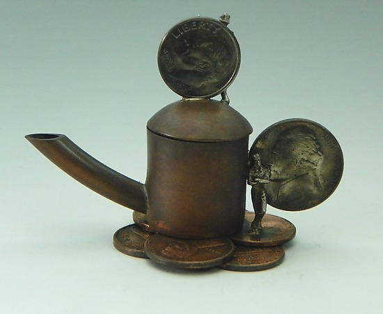 Penny Wise, Teapot Foolish - Metal Teapot - by Malcolm Owen and Mary Ann Owen