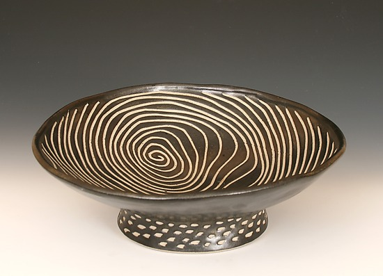 Round Pedestal Bowl - Ceramic Bowl - by Larry Halvorsen