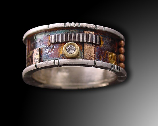 Butano Ring with Diamond - Gold, Silver, & Stone Ring - by Lynda Bahr
