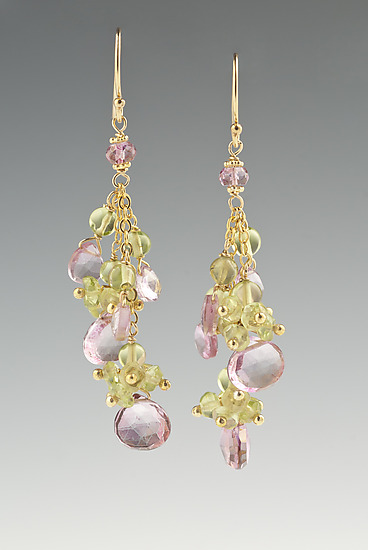 Pink Quartz and Peridot Earrings - Gold & Stone Earrings - by Judy Bliss