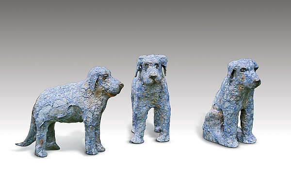 Blue Puppies - Ceramic Sculpture - by Mark Chatterley