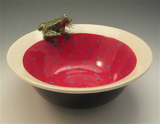 Red Leopard Frog Bowl - Ceramic Bowl - by Lisa Scroggins