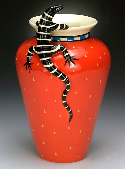 Classic Lizard Vase - Ceramic Vase - by Lisa Scroggins